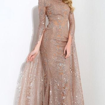 Award Season Rose Gold Glitter Geometric Lace Pattern Long Sleeve Mock Neck Mermaid Dress