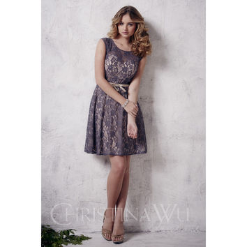 Christina Wu Occasions 22658 Short Lace Bridesmaid Dress
