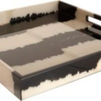 Madeline Weinrib Black Stripe Ikat Small Tray
