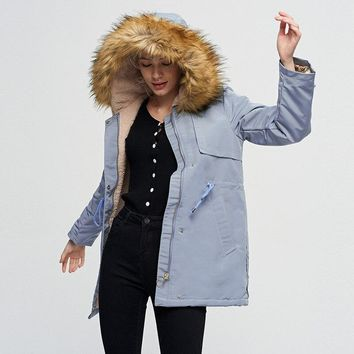 STYLEDOME  Winter Jacket Women Parka New Fashion Fur collar Hooded Cotton Coat Casual Long Thick Warm Cotton Padded Jacket Ladies Overcoat