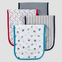 Baby Boys' 4 Pack Burp Cloth Set Sailboats Blue/Grey/White OSZ - Just One You™ Made by Carter's®