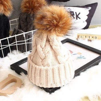 Women Kids Baby Mom Warm Winter Knit Beanie Fur Pom Pom Hat Crochet Ski Cap