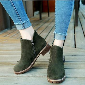 [Winter Fashion]Women's Boots Ankle Boots Low Heel Suede Shoes