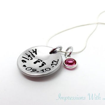 mothers necklace - new mum - new baby keepsake - hand stamped necklace - mom jewlery - baby feet - name necklace