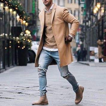 New Spring Autumn Men Casual Fashion Single-breasted Coat High Quality Solid Colors Suit Collar long-sleeved Jacket Plus Size