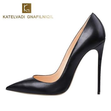 Brand Shoes Woman High Heels Women Shoes Pumps Stilettos Shoes For Women Black High Heels 12CM PU Leather Wedding Shoes B-0051 1