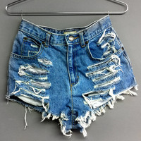 High Waisted denim jean shorts