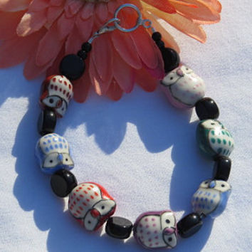 Multi Color Owl Bracelet , Glass Beaded Bracelet, Woman's Jewelry