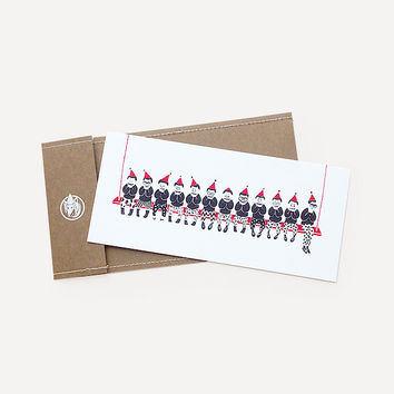 Joyful Little Men Greeting Card, Red Version