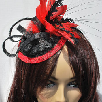 Black and Red Fascinator, Tea Party Hat, Church Hat, Derby Hat, Cocktail Hat, Tea Party Hat, wedding hat, Red Fascinator, womens hat