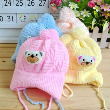 New Cartoon Bear Baby Hat Newborn Knitted Cap Crochet Christmas Soft Fleece Hats Kids Toodler Girls Boys Caps Winter Warm Hats