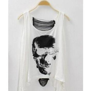 Amazon.com: Fashion Skull Punk Singlet Vintage Sexy Tank Top in White - One Size: Everything Else