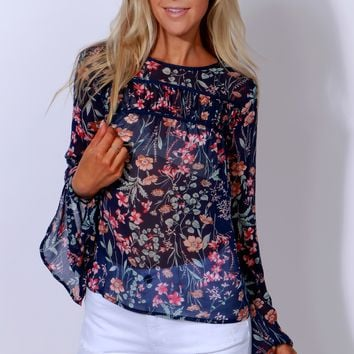 Best Ferns Print Blouse Navy