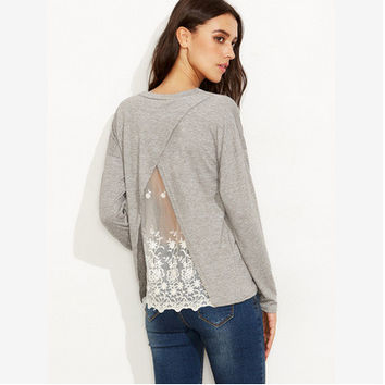 Women's Fashion Winter Lace Long Sleeve T-shirts [6446620420]