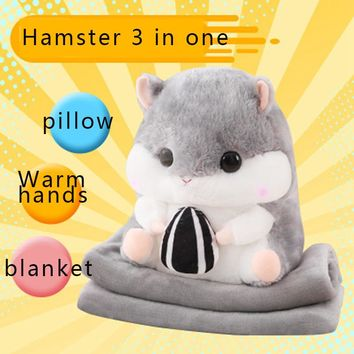 U-miss Multifunction 3 In 1 Hamster Pillow Air Conditioning Blanket Warm Hands Plush Toy Cartoon
