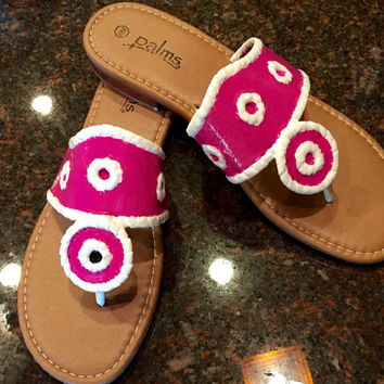 Jack Rogers inspired sandals. Hand painted in any custom color selction of your choice.