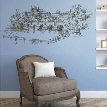 Prague Skyline Wall Decals Prague Wall Decals Cityscape Prague Wall Decals Czech Republic Wall Decals kik2419