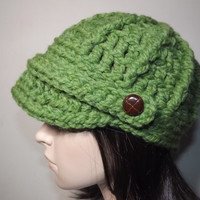 Crochet Chunky Newsboy Brim Beanie Cap Sportswear Leather Look Button Tab Hat-Grass Green