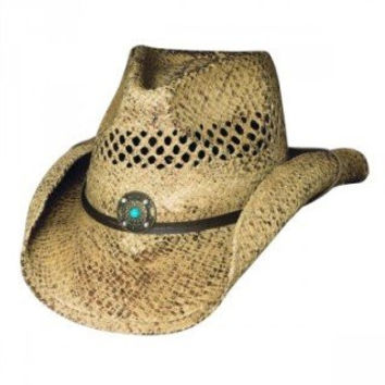 Bullhide Montecarlo Anytime Vented Raffia Western Hat with Turquoise Bead Concho Small/Medium