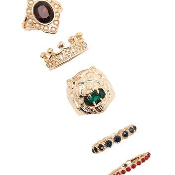 Faux Gem Lion Ring Set