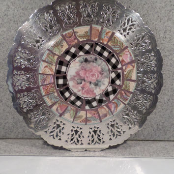 Upcycled Silver-plated Trivet with Mosaic Center (Item 1537)