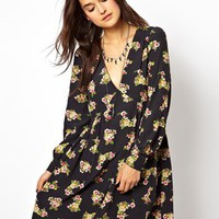 ASOS Smock Dress With V-neck In Floral Print - Multi