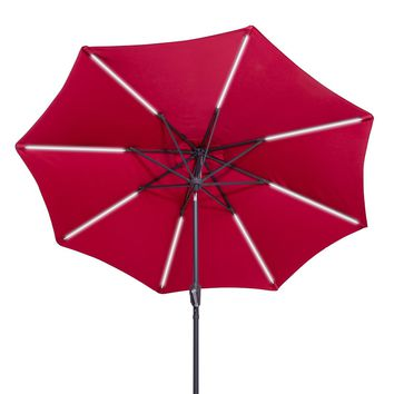 9 FT Patio Solar Umbrella LED Light Tilt Deck Waterproof Garden Market Beach Red
