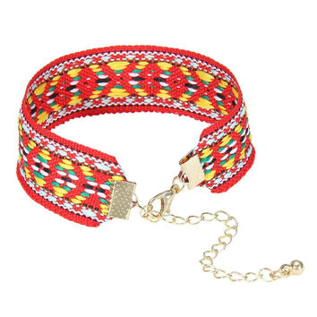 Red Geometric Bracelet with Gold Closure