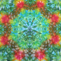 tie dye tapestry wall hanging trippy mandala green red