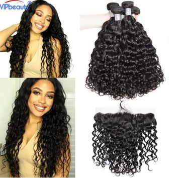 VIP beauty Indian water wave 3 bundles with 13x4 lace frontal closure,100% human hair weave with closure remy hair extension