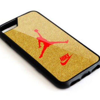 Best Air Jordan Nike Gold Glitter For iPhone 7 7+ 8 8+ Cover Protect Case