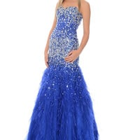 Precious Formals P46854 In Stock Royal Size 6 Ostrich Feather Jeweled Prom Dress