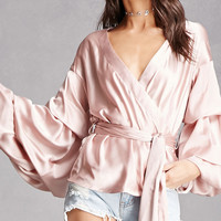 Satin Puff-Sleeve Wrap Top