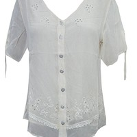 Mogul Interior Serena Womens Blouse Off- White Short Sleeves Floral Embroidered Button Front Summer Top Shirt M