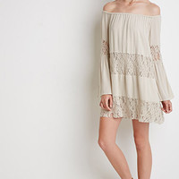 Lace-Paneled Off-the-Shoulder Dress