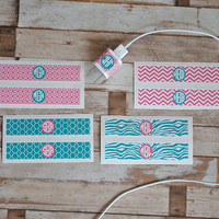 iPhone Charger Wrap - iPhone Charger Decal - Monogram Sticker - Great Gift - Great For Organizing