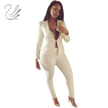 Women Slim White Pants Suits 2018 New Fashion Celebrity Long Sleeve One Button Suits and Pants Sets Ladies Party Club Blazers