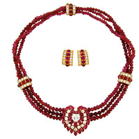 Burmese Ruby & Diamond Bead Necklace & Earring Suite