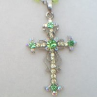 eBlueJay: Lime Green Rhinestone Fleur De Lis Cross Pendant Rosary Necklace Iridescent Costume Jewelry For Her