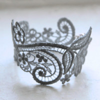 Lace Bracelet - Chloe Cuff in Silver - Gray Lace Jewelry - Pewter Silver Lace Bridesmaid Bracelet