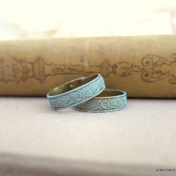 Turquoise Ring Patina Rustic Aqua Lord of the Rings Jewelry Elf Pewter Steam Punk Gothic Blue Mint Antique Style Vintage Inspired Adjustable