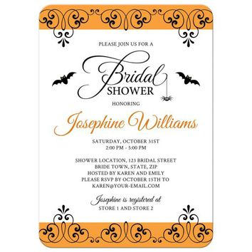 Halloween bridal shower invitation with ornate borders, bats and spider