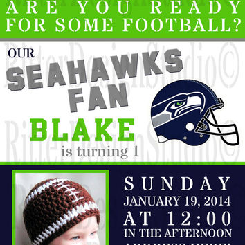 Seattle Seahawks Football Birthday Invitation - Printable/Digital Design