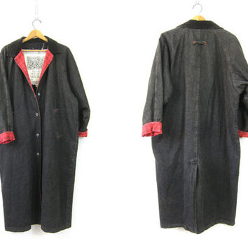 Vintage Long black denim jean jacket full length Duster Coat Corduroy Collar Red Plaid Cuffs Maxi Coat Women's Free Size Medium Large XL