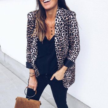 Warm women basic coat 2019 winter New Female Leopard print casual Jacket Chaquetas Mujer Fall Jackets For Women Coat