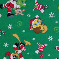 LOONEY TUNES Christmas Green Sylvester Bugs Bunny Daffy Duck Tweety Taz Cotton Cranston Character Fun Fabric for Creative Genius Projects