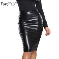 Brown Black Pu Leather Bodycon Sexy Club Party Midi Skirt Women High Waist Vintage Pencil Skirts