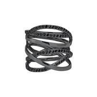 LANA Reckless 14K Black Gold Multi-Row Band Ring with Black Diamonds, Size 7