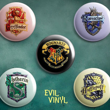 "Set of 5 Harry Potter Hogwarts Houses 1"" Buttons Deathly Hallows Symbol Movie Book Glasses Magic Wizard School Azkaban Astronomy Art Pinback"