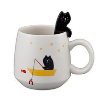 GONE FISHING Cute Cat Mug with Spoon